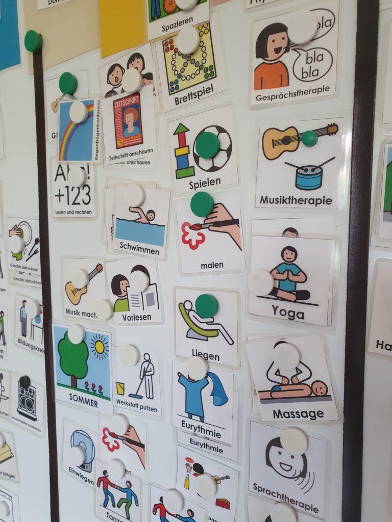 Whiteboard mit Aktionskärtchen